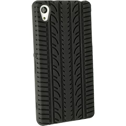 iGadgitz Black Rubber Tyre Skin Silicone Gel Case for Sony