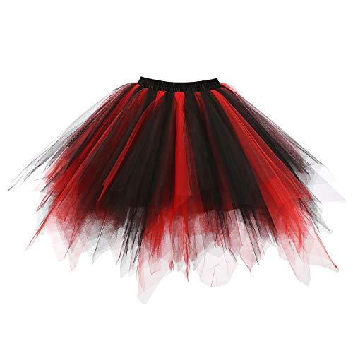MuseverBrand 50er Vintage Ballet Blase Firt Tulle Petticoat Puffy Tutu Black/Red Small/Medium
