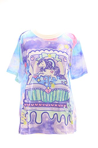 T-02 Lolita T-Shirt Einhorn Unicorn Harajuku Japan Trend Fashion Süß Kawaii-Story (T-shirts Story Frauen Toy)