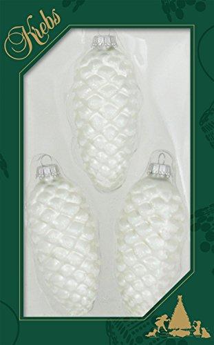 ORIGINAL LAUSCHAER CHRISTBAUMSCHMUCK - 3er Set Tannenzapfen, satin silber, ca. 10 cm, mit silbernem Krönchen + 50 Schnellaufhänger in silber GRATIS zu Ihrer Bestellung dazu ! Tannenzapfen Silber