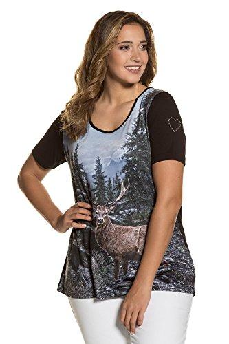Ulla Popken Damen große Größen | Trachtenshirt mit Hirsch-Motiv | Rundhalsausschnitt | Rücken und Halbarm aus Jersey | bis Größe 62+ | 712368 Schwarz