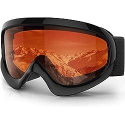 Findway Gafas Esqui Niño Mascara Esqui Niño Gafas de Esqui Niño Niña OTG Ajustable para Niños Anti-Niebla Protección UV Compatible con Casco para Esquiar Snowboard Deportes de Invierno
