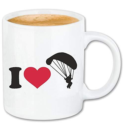 Reifen-Markt Kaffeetasse I LOVE PARASELLING - GLEITSCHIRMFLIEGEN - PARA SAILING SCHIRM - FALLSCHIRM - GLEITSCHIRM Keramik 330 ml in Weiß