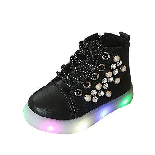 Beikoard Kinder Baby Mädchen Perlenkristall Laufende Sportschuhe Stiefel LED leuchtende Turnschuhe...