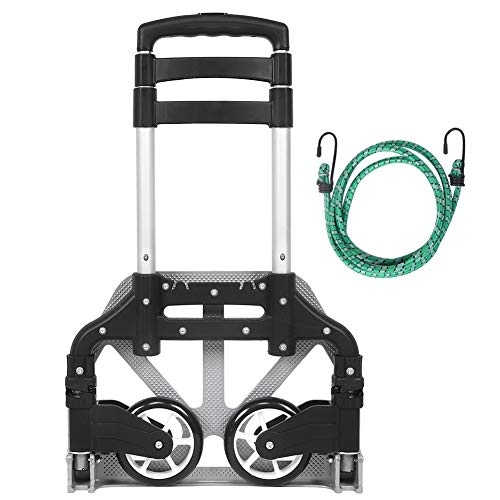 Topsale-ycld Folding Hand Truck, 154 lbs Heavy Duty Luggage Cart, 4 Wheels Solid Construction, Portable Fold Up Dolly, Compact and Lightweight for Luggage, Personal, Travel, Moving and Office Use