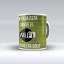 Taza decorada desayuno regalo original diseño frase Mi casa está donde el wifi se conecta solo