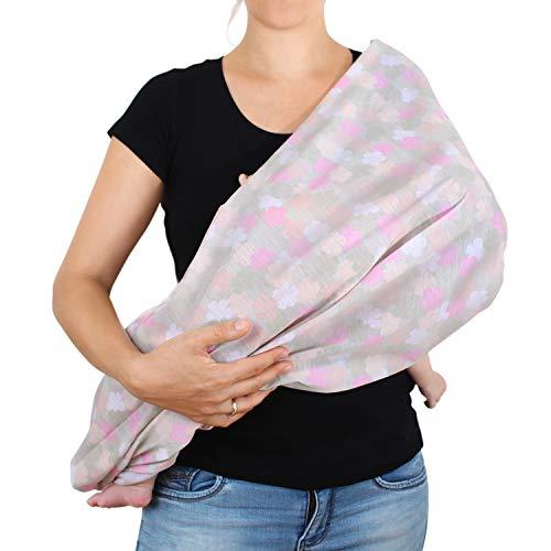 Amazy Stillschal für Mama & Baby – Multifunktionales XL Stilltuch zum diskreten Stillen oder als Autositzbezug, Einkaufswagenschutz und Sonnenschutz | In 5 Designs erhältlich (Rosa | Blumen)