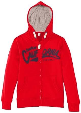 ESPRIT Tops à capuche  À capuche Manches longues Garçon - Rouge - Rot (609 FLAME RED) - FR : 4 ans (Taille fabricant : 104/110)