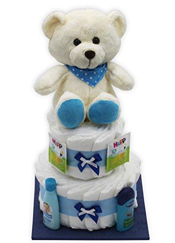 """Große Windeltorte \""""blauer Bär\"""" mit Teddybär - das perfekte Geschenk zur Geburt + gratis Grußkarte (Blau)"""