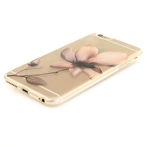 Felfy Coque pour iPhone 6S Plus,iPhone 6 Plus Case,iPhone 6 Plus Ultra Slim TPU Case Housse Silicone Souple Etui Gel Fine Couverture Arrière Anti Poussières Couvercle Anti Rayures Motif Transparent Ca Magnolia