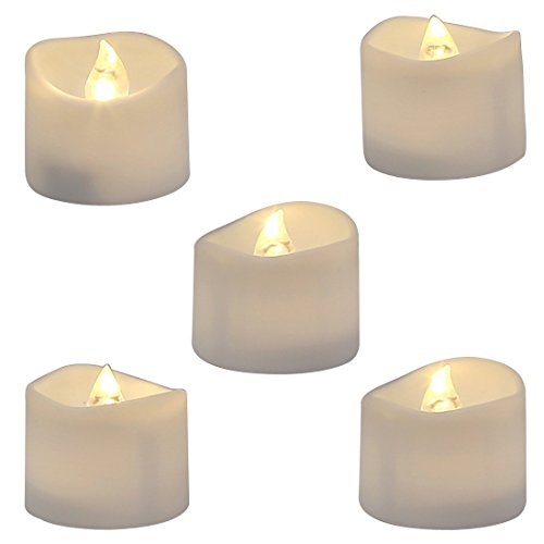 Homemory Realistic and Bright Flickering Battery Operated Flameless LED Tea Light, Pack of 12, 1.4x1.25 Inch, Electric Fake Candle in Warm White and Wave Open..