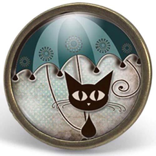 Anillo cabochon -'el gato con el paraguas'- Regalo de Navidad para regalo mujer - San Valentín- regalo de cumpleaños - bronce (ref.2)