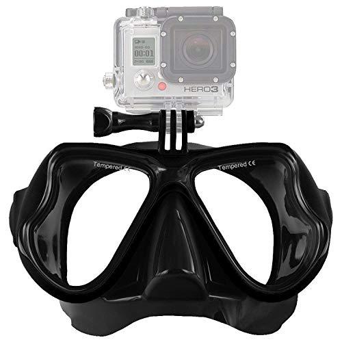 IXROAD Máscara Gafas de Buceo Snorkel Natación con Soporte para Cámara Deportiva (Negro)