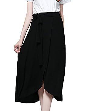 Tallas Grandes Falda Asimétrica De Alta Cintura Con Cinturó Mujer