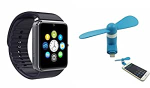 MIRZA Smart Watch & Mobile Fan for LG joy (Mobile Fan & GT08 Smart Watch Phone with Camera & SIM Card Support Hot Fashion New Arrival Best Selling Premium Quality Lowest Price with Apps like Facebook,Whatsapp, Twitter, Sports, Health, Pedometer, Sedentary Remind,Compatible with Android iOS Mobile Tablet-Assorted Color)