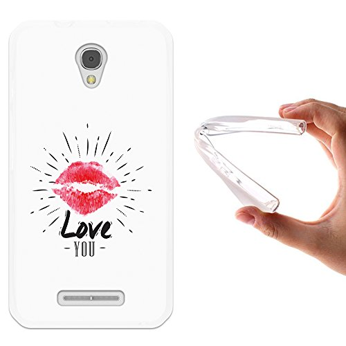 WoowCase Alcatel OneTouch Pixi First Hülle, Handyhülle Silikon für [ Alcatel OneTouch Pixi First ] Love You Lippen Handytasche Handy Cover Case Schutzhülle Flexible TPU - Transparent