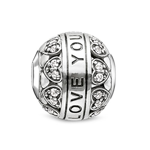 Thomas Sabo Damen-Bead Karma I-Love-You 925 Silber Zirkonia transparent - K0211-643-14