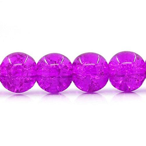 �-Perlen aus Glas, 7 mm, Violett, Rosa, 100 Stück ()