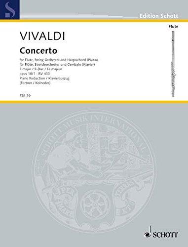 "Concerto Nr. 1 F-Dur: \""La tempesta di mare\"". op. 10/1. RV 433/PV 261. Flöte (Alt-Blockflöte), Streichorchester und Basso Continuo. Klavierauszug mit Solostimme. (Edition Schott)"
