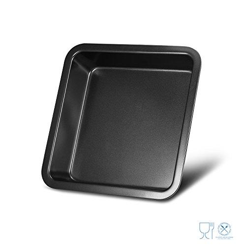 qobobo®  Universal Carbon Steel Backblech, antihaftbeschichtetes Kuchenblech, schwarze Kuchenform , 20.1 x 20.1cm (8 Zoll) für Kuchen, Brownie, Fleisch grillen, Laib, Brot, Pizza, Tiramisu, italienische Lasagne, gebackener Reis usw