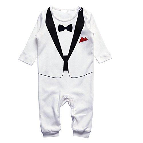 ng für Jungen - Anzug mit Fliege (Größe 90, 12-18 Monate, weiß) (12 Monat Alten Baby Kostüme)