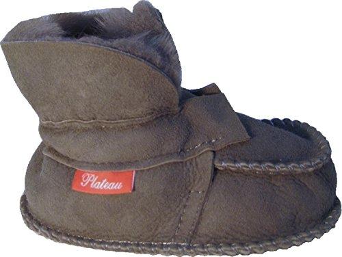 Plateau Tibet - ECHT LAMMFELL Baby Kinder Schuhe Booties Stiefel - HuggME, Grau - Gr. 18/19 (Schuhe Echte Jungen)