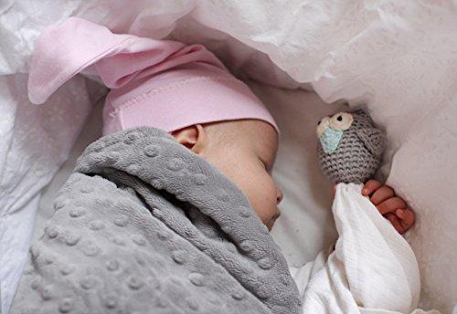 MayLily® Premium | Anschmiegsam Eule Kuscheltier für den kleinen Neugeborenen Babys | Bio Baumwolle / Bambus Muslin | Handgefertigte | Anti-allergisch | Made in EU | in vielen Farben (Grau)