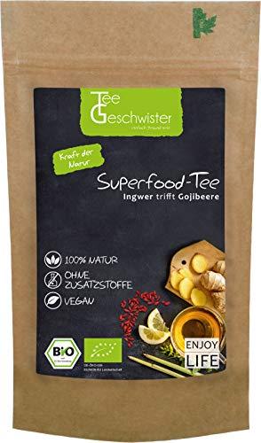 BIO Superfood Erkältungs-Tee | Ingwertee mit Gojibeeren | Geschenk-Idee für Gute Besserung Geschenke | Ingwer Zitronen-Tee | ohne Zusatzstoffe | Tee-Geschwister | 100g