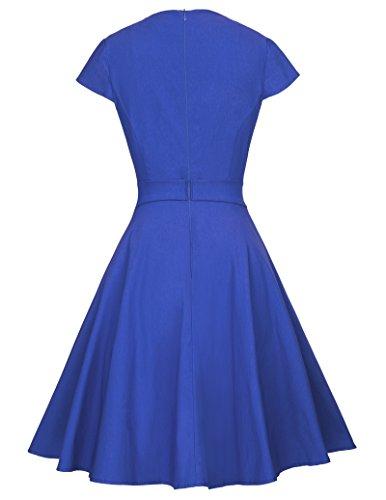 Belle Poque Rockabilly Kleid Petticoat Kleid Damen Knielang Sommerkleider BP361 BP361-3(Blau)