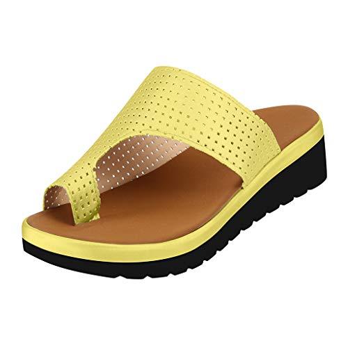 Flip Flops für Damen, Bequeme Plateausandalen,Slip-On-Sandalen mit Keilabsatz,Strandschuhe aus Hohl PU-Leder, Fußkorrektur - Orthesen-Sandalen mit Fußgewölbestütze -Beach-Reiseschuhe