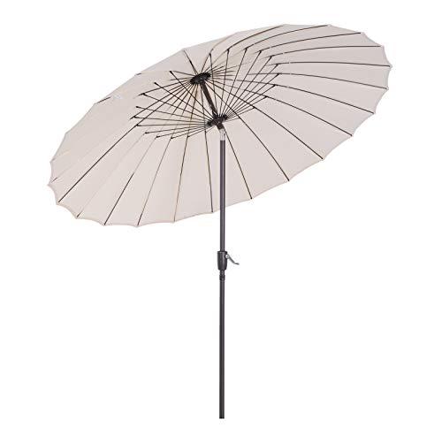 Parasol de Plage Parasol de Jardin Polyester Acier Cr/ème 140 cm x 164 cm /® casa.pro