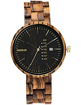 Herren Handgefertigte Holz Armbanduhren Mit Zebraholz Uhr Herren Holzuhren Japanisches Quarzwerk Kalender