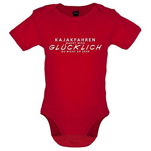 Kajakfahren macht mich glücklich - Lustiger Baby-Body - Rot - 3 bis 6 Monate