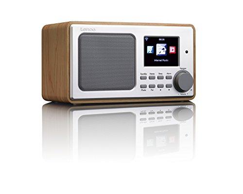 Lenco DIR-100 Internetradio WLAN mit Radiowecker und Wettervorhersage (8 cm TFT Farb-Display, USB, 2 Weckzeiten, AUX-Eingang, Line-Ausgang, Fernbedienung), wood