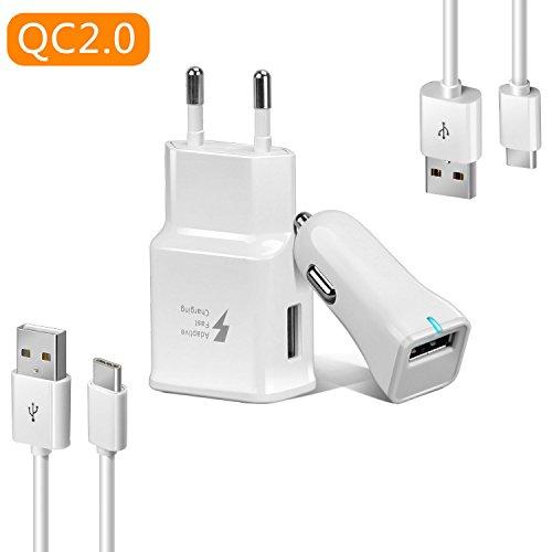 Axmda 4in1 Cable USB Tipo C 3ft/4ft + Cargador de Coche + Cargador de Pared, Cargador Rápida para Samsung Galaxy S8/S8Plus, Xiaomi Mi5/Mi6, Google Pixel, Nexus 6P/5X, Huawei P9/P10, LG G5/G6 y más