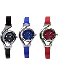 Freny Exim New Fashion Adda Sober Combo Set Of 3 Black Blue And Red Dial Analog Women Wrist Watches For Girls
