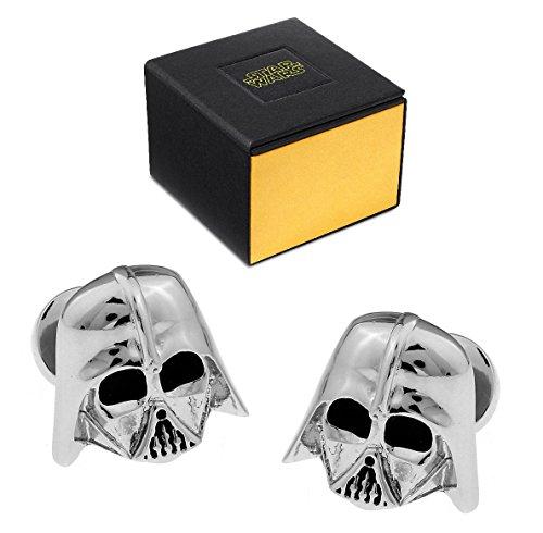 Star-Wars-Manschettenknöpfe, Darth Vader, 3D, Silber, mit Imperial-Logo auf der Rückseite, mit Geschenkbox