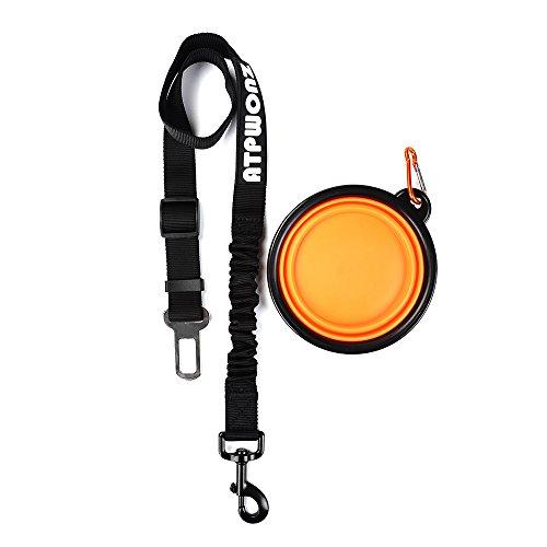 ATPWONZ Hunde-Sicherheitsgurt fürs Auto Wertbeständiger Chrom-Verschluss und elastische Ruckdämpfung Idealer Autogurt-Adapter für Hunde-Geschirr oder Halsband