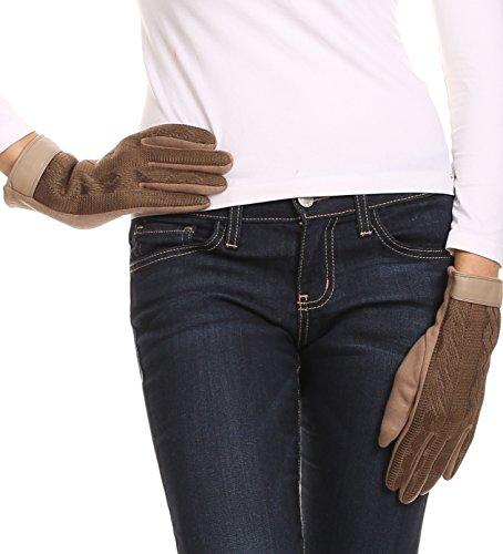 Sakkas Rayanne souple classique en tricot Faux écran tactile de bande de poignet en cuir Warm Gloves Beige
