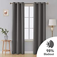 Deconovo Room Darkening Thermal Insulated Blackout Grommet Window Curtains For Bedroom 2 Panels Light Grey 40Wx95L Inch