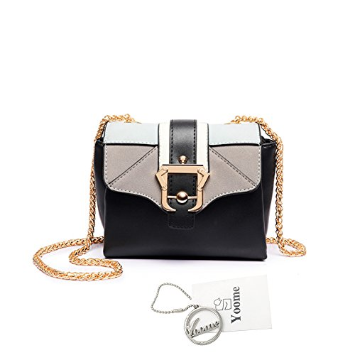 Borse a tracolla mini borsa a tracolla Yoome Contrast per ragazze Multi-tasca Borse per le donne - Nero Nero