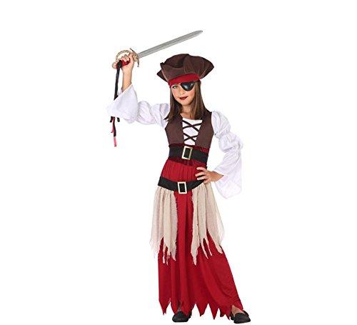 ATOSA 56959 Piratin Kostüm für Mädchen Costume Pirate 3-4, Braun/Weiss/Rot, 3 a 4 años