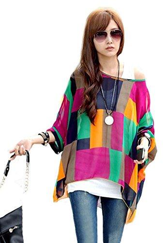 Blumen Chiffon Bluse - Landove Fledermaus Shirt Damen 3 4 arm Bohemian Boho Hippie Damebluse Tunika T Shirt Sommer Oberteil Große Größen (Hippie Print Kostüme)
