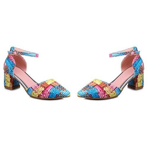 COOLCEPT Femmes Mode Pointue Cheville Chunky Talon Sandales Fille Ecole Chaussures Bleu