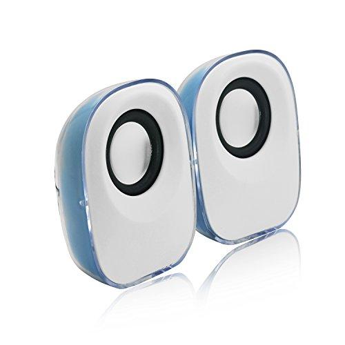 Preisvergleich Produktbild Incutex LED Lautsprecher Sound Boxen Multimedia Speakers für PC Laptop mini audio speaker hellblau