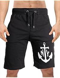 49df284b4bc3 MoonWorks Herren Sweatshorts Sweat Shorts Anker Anchor Druck kurze Hose  Freizeit Fitness knielang