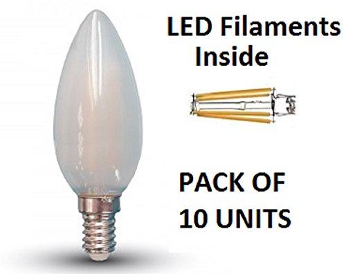 V-TAC-Bombilla LED tipo vela de filamentos (Cristal Esmerilado, 10