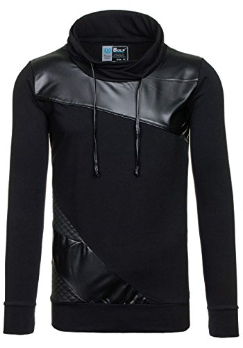 BOLF – Felpa con cappuccio – Pullover – Sweat-shirt – Uomo [1A1] Nero