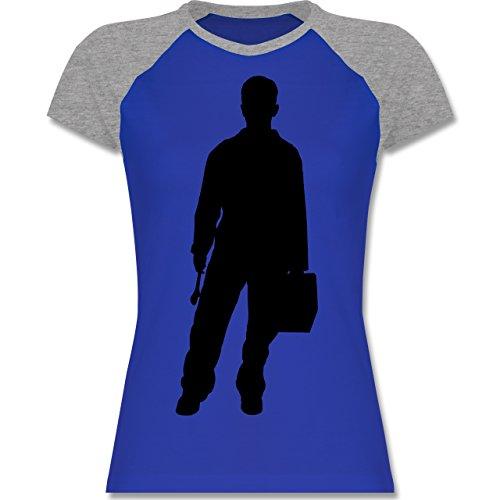 Handwerk - Installateur - zweifarbiges Baseballshirt / Raglan T-Shirt für Damen Royalblau/Grau meliert