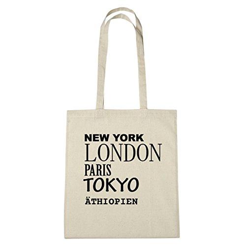 "JOllify Ã""THIOPIEN Umwelttasche Jutetasche B4576jute - Farbe: natur: New York, London, Paris, Tokyo"